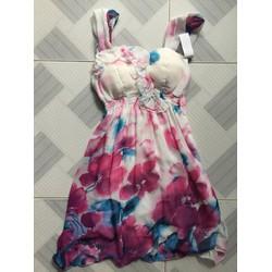 Đầm voan hoa cúp ngực