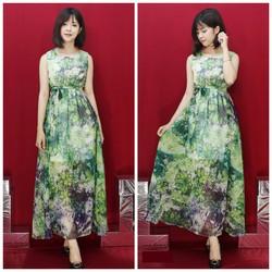 Đầm maxi xanh eo bo thun