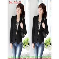 Áo khoác vest đen cá tính đính nút sành điệu AKA28