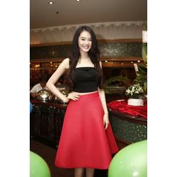 Chuyên sỉ - Bộ áo crop top nơ và chân váy xòe Linh Chi xinh xắn