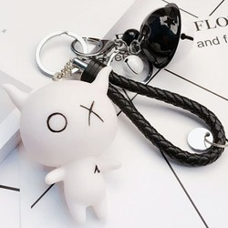 Móc khóa OX có lục lạc màu trắng, dây đen cung cấp bởi WinWinShop88