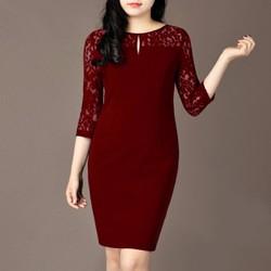 Đầm Suông Tay Lỡ Phối Ren