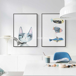 Tranh Treo phòng khách bộ 3 tranh treo tường Mèo và cá