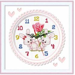 Tranh thêu đồng hồ thỏ - chưa thêu - 36 x 36 cm