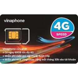 SIM 4G VINAPHONE 1 THÁNG 60GB + MIỄN PHÍ CUỘC GỌI