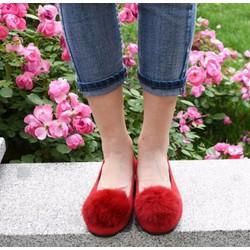 Giày búp bê nhung hoa xù