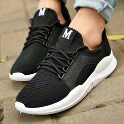 Giày thể thao nam nữ đen chữ M