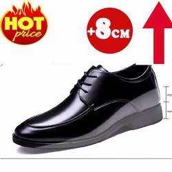 Giày Tăng Chiều Cao Nam 8CM - Da Bò Thật - Cao Cấp Nhập Khẩu