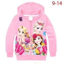 Áo khoác bé gái hình Elsa và các công chúa [Size:12]22-37kg