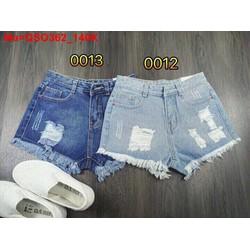 Quần short jean nữ rách hai màu xanh nhạt và đậm