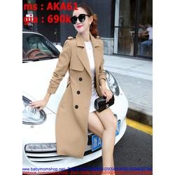 Áo khoác kaki nữ kiểu măng tô cho nàng thanh lịch thời trang