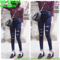 Quần jean nữ lưng cao xanh đen rách 2 bên phong cách
