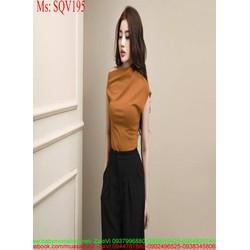 Sét áo tay con cổ ngang và quần ống suông lửng sành điệu SQV195