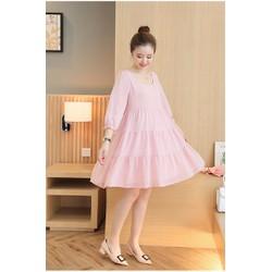 Đầm bầu voan tay dài màu hồng