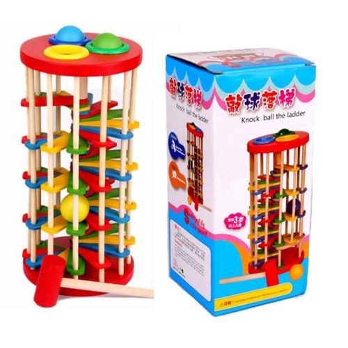 Đập bóng bậc thang zic zac đồ chơi gỗ thông minh