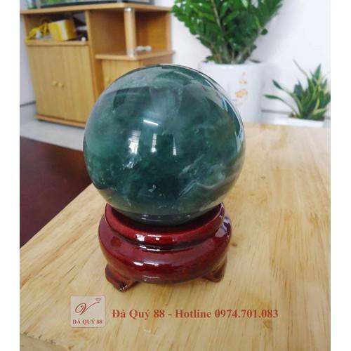 Quả cầu phong thủy đá fluorit xanh tự nhiên đường kính 7,6cm