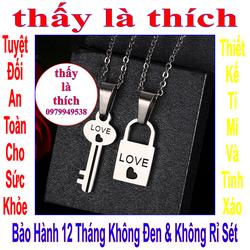 Dây chuyền cặp đôi inox hình ổ khóa và chìa khóa khắc chữ Love- 2 dây + mặt như hình
