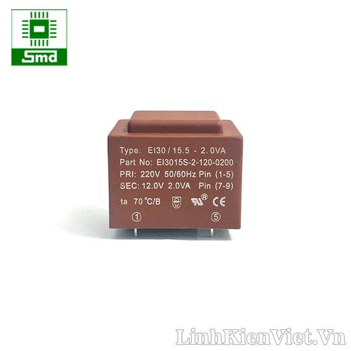 Biến áp 220V-12V 2W có chân hàn PCB