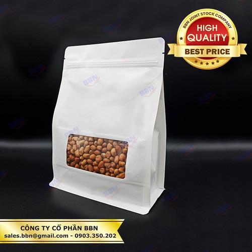 1kg bao bì giấy trắng đáy vuông có cửa sổ kt20x28 đựng 1kg cà phê,...