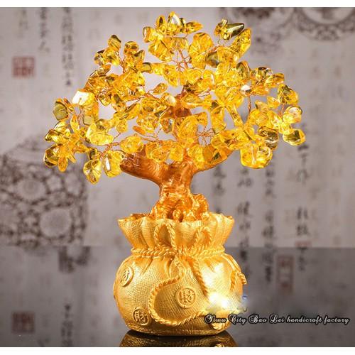 Cây Tài Lộc Đá Thạch Anh Vàng 19cm