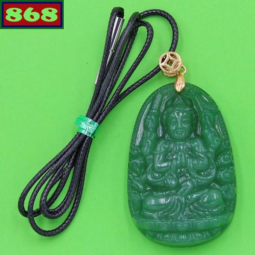 Vòng cổ Mặt Phật Thiên Thủ Thiên Nhãn đá thạch anh xanh 5 cm
