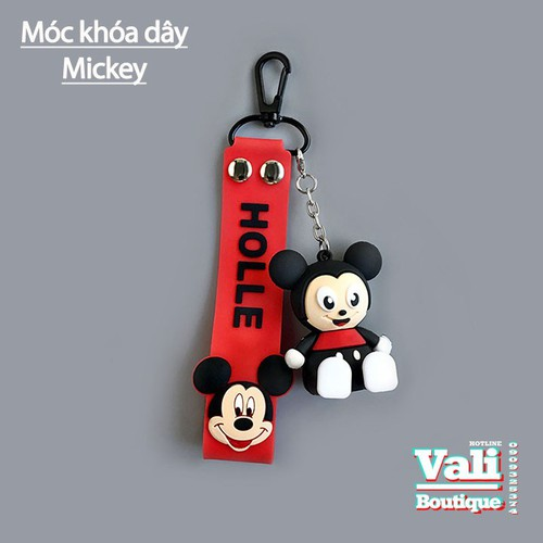 Móc khóa dây da PU ngắn kèm Mickey - dây đỏ