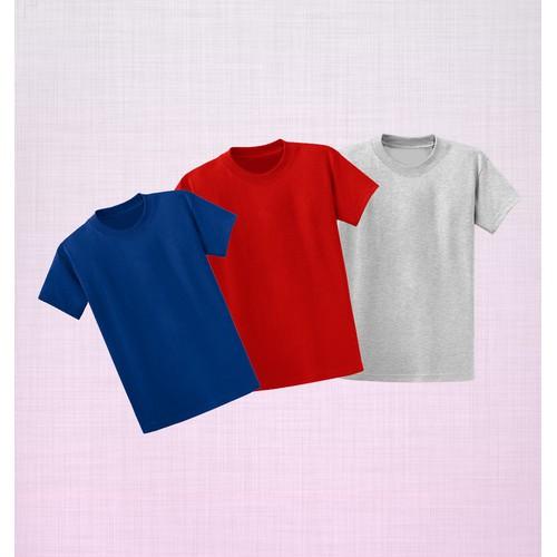 Combo 3 áo thun trơn màu tối giản - Xanh Dương-Xám-Đỏ