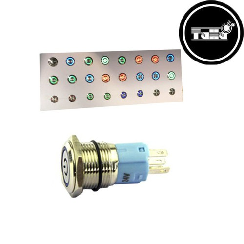 Nút Nhấn Giữ Có Đèn Xanh Lá Chống Nước 12V 16mm-Linh Kiện Điện Tử TuHu