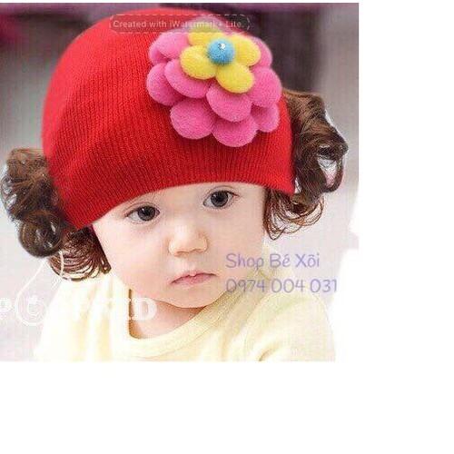 Mũ len tóc giả cho bé - 3 mầu - có hình thật
