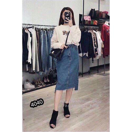Chân váy jean dài phong cách