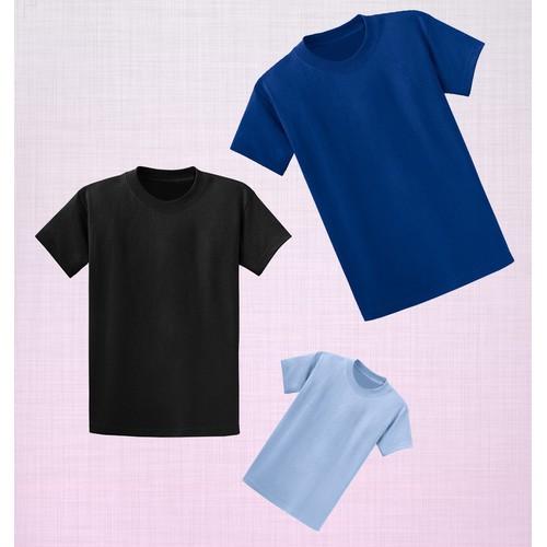 Combo 3 áo thun trơn màu tối giản - Đen-Xanh Dương Xanh-Da Trời