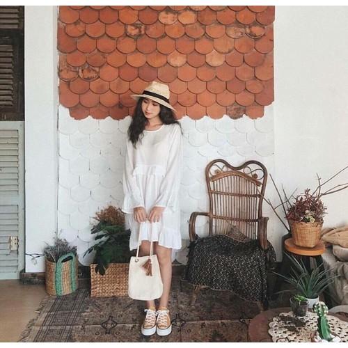 Akomis dress. Đầm tầng trắng nhẹ nhàng
