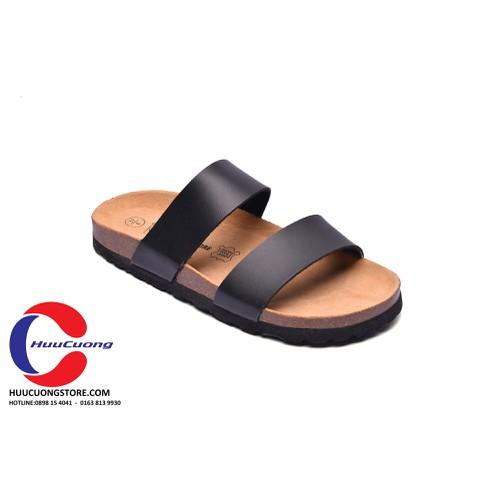Dép sandal 2 quai da pu đế trấu