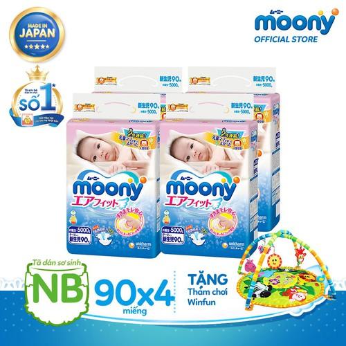 [Tặng thảm chơi Winfun] Bộ 4 gói Tã dán cao cấp Moony NB - 90 miếng
