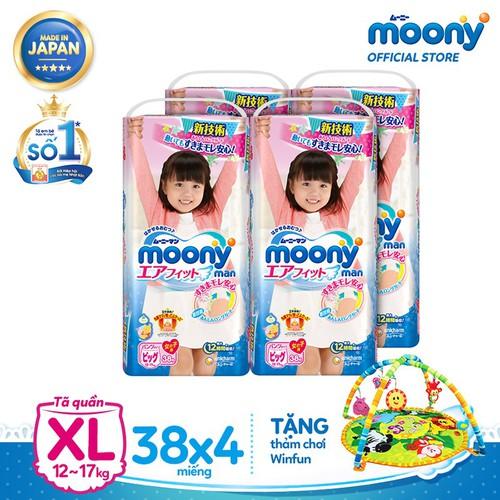 [Tặng thảm chơi Winfun] Bộ 4 gói Tã quần cao cấp Moony XL38 Girl