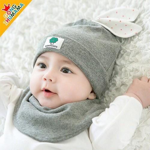 Khăn mũ tai thỏ cho bé