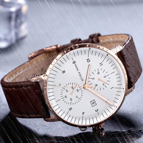 Đồng hồ nam dây da Mini Focus MF052 5 kim lịch ngày cao cấp