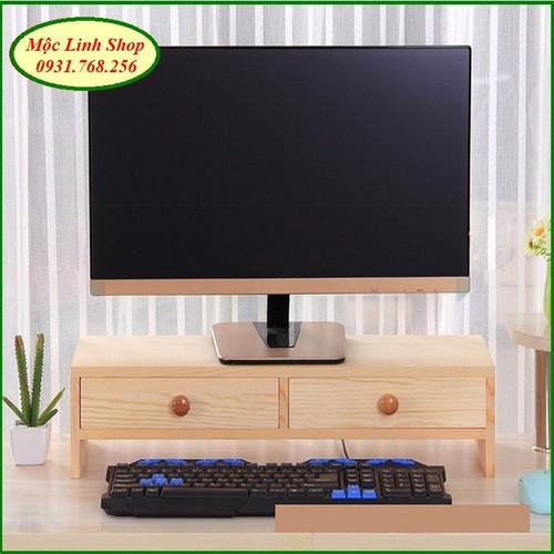 Kệ gỗ để màn hình có 2 ngăn tủ màu gỗ