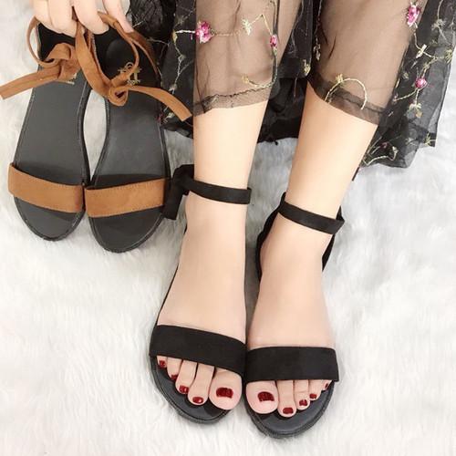 Giày Sandal Đế Bệt Quai Ngang Cột Nơ Xinh