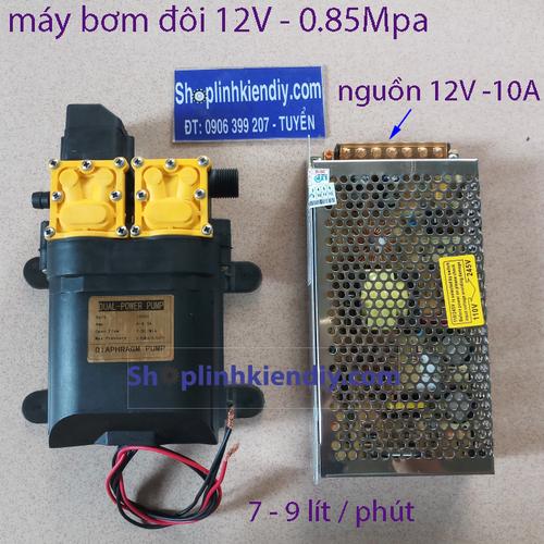 bơm đôi - bơm đôi - bơm tăng áp 12V kèm nguồn 10A