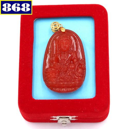 Mặt Văn Thù Sư Lợi Bồ Tát 5 cm đỏ hộp nhung