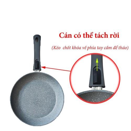 chảo vân đá chống dính greencook size 26cm đáy từ, nấu được trên tất cả loại bếp