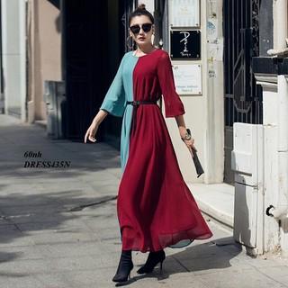 DRESS436N-ĐẦM SUÔNG PHỐI MÀU bigsize K KÈM THẮT EO - DRESS436N thumbnail