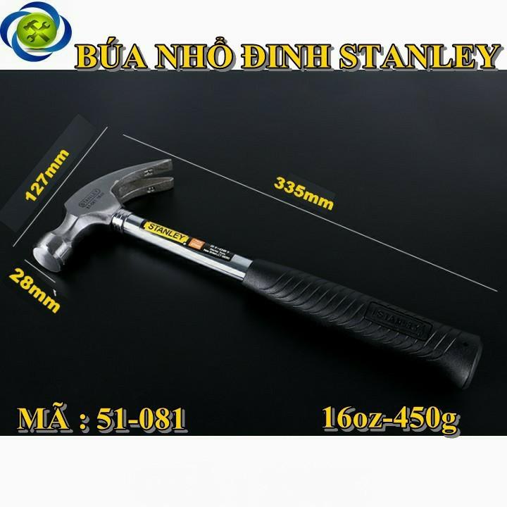 Búa nhổ đinh cán sắt Stanley 51-081 16oz-450g 1
