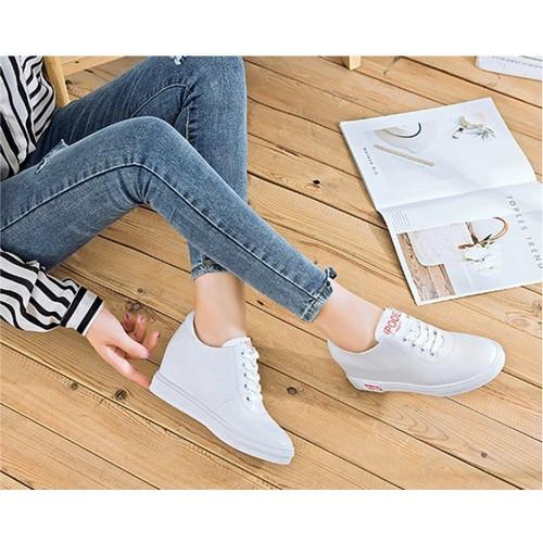 Giày SNK nữ độn 8p da cao cấp siêu mềm siêu nhẹ 3 màu trắng ,đen ,đỏ
