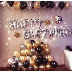 Set bóng sinh nhật tặng kèm bơm cầm tay, băng dính và ruy băng