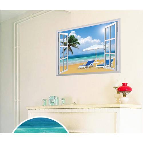 Decal trang trí tường Khung cửa sổ Bãi Biễn Ghế đôi