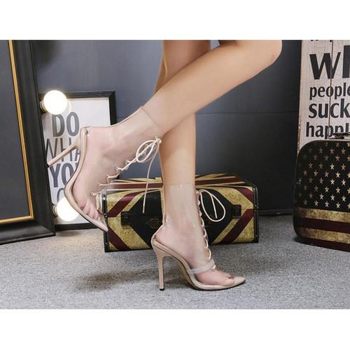 Giày boot cao gót trong suốt cột dây mũi nhọn