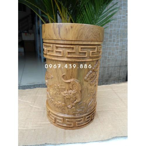 Hộp trà gỗ bách xanh - mẫu Anh Hùng Tương Ngộ