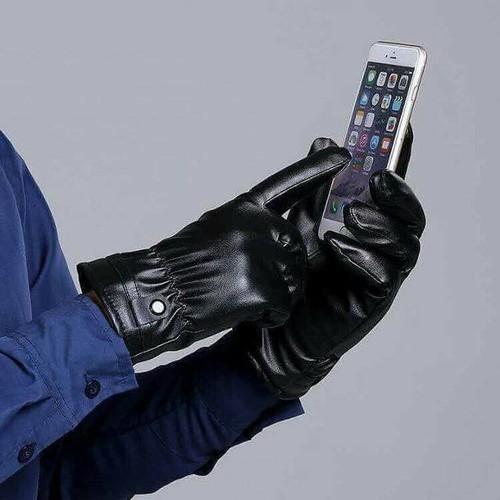 Găng tay da nam có cảm ứng chống nước cao cấp